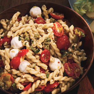 Pasta Salad with Cherry Tomatoes and Green Olivada .
