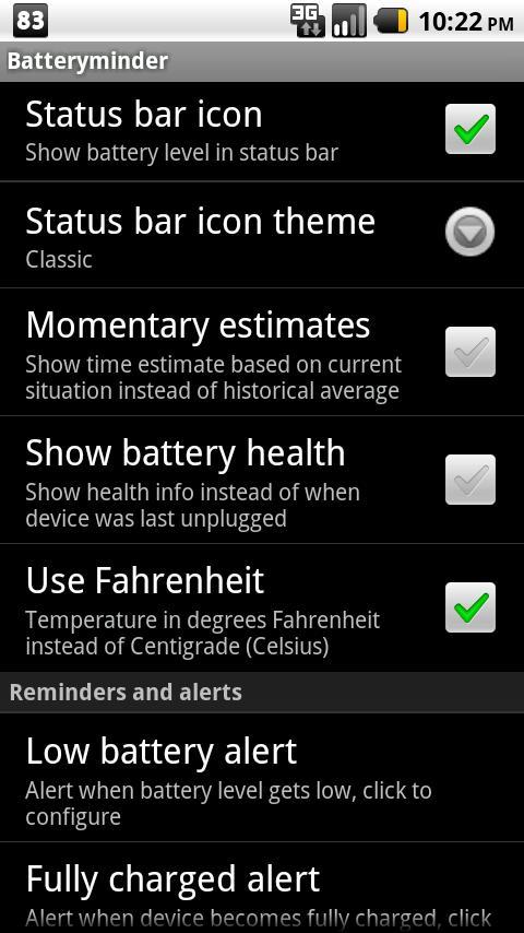 Batteryminder- screenshot