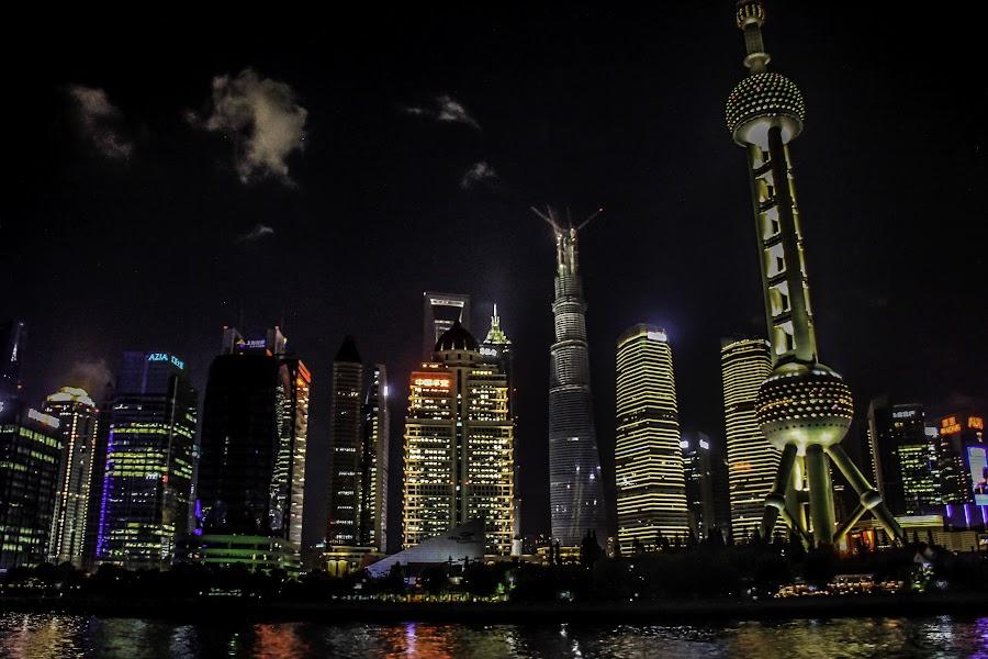 Shanghai Night by Eddy Tan - City,  Street & Park  Night ( night, travel, shanghai, china, city,  )