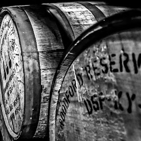 Bourbon Barrels by Stephanie Turner - Black & White Objects & Still Life ( history, blackandwhite, black and white, alcohol, kentucky, aged )