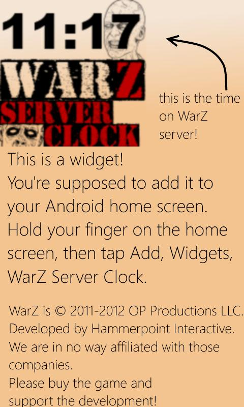 WarZ Server Clock - screenshot