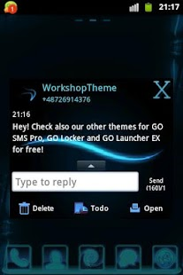 GO SMS Theme Blue Simple - screenshot thumbnail