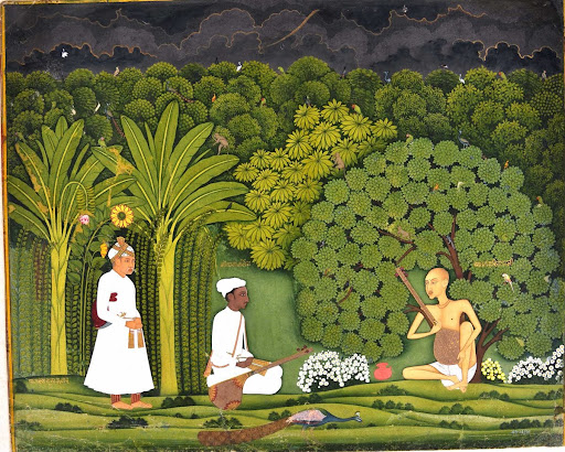 Swami Haridasa with Tansen and Akbar at Vrindavana