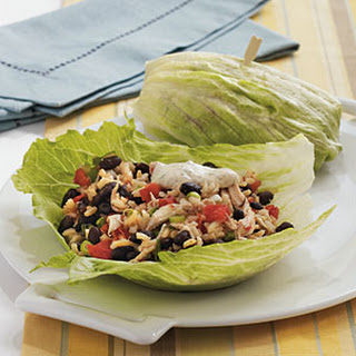 Southwestern Chicken Lettuce Wraps with Spicy Chipotle Dipping Sauce.