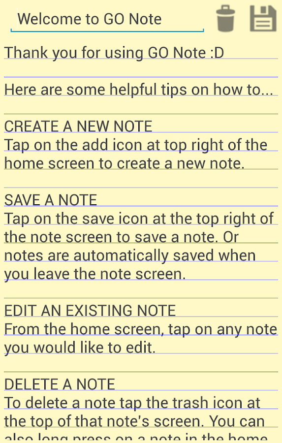 GO Note - screenshot