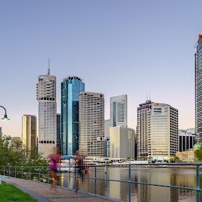 MMPI_20150226_MMPI0020_0012 by Mick McKean - City,  Street & Park  Vistas ( building, tod, queensland, time of day, blue hour, australia, kangaroo point, sunrise, cityscape, daybreak, captain burke park, river )