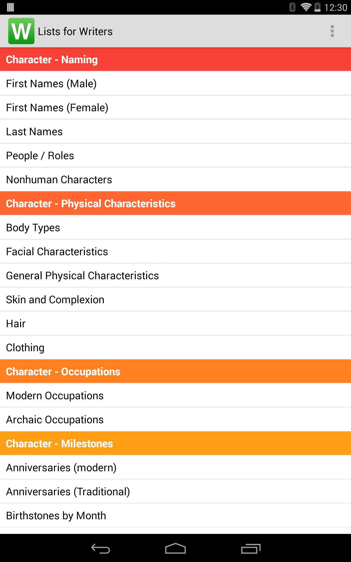 Lists for Writers screenshot #9