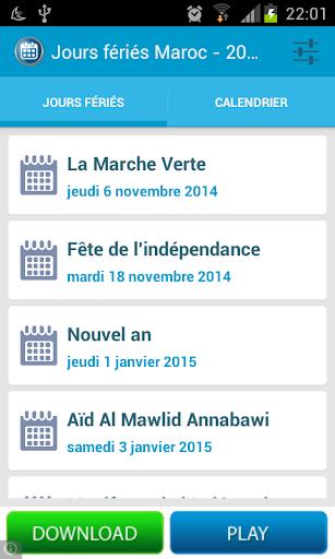Jours fériés Maroc
