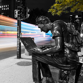 Slow shutter at Mcgill  by Faisal Abuhaimed - City,  Street & Park  Night ( Urban, City, Lifestyle, selective color, pwc )