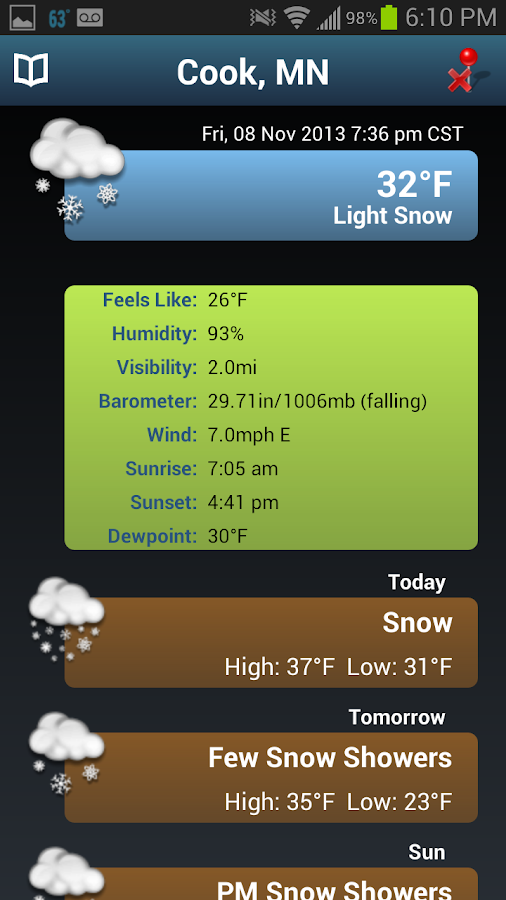 NOAA Snow Forecast - screenshot