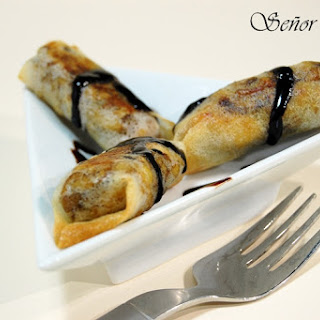 Brik Pastry Rolls Stuffed with Chicken and Mushrooms in a Balsamic Vinegar Cream.