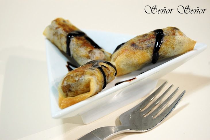 Brik Pastry Rolls Stuffed with Chicken and Mushrooms in a Balsamic Vinegar Cream Recipe