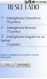 Teste Inteligências Múltiplas - screenshot thumbnail