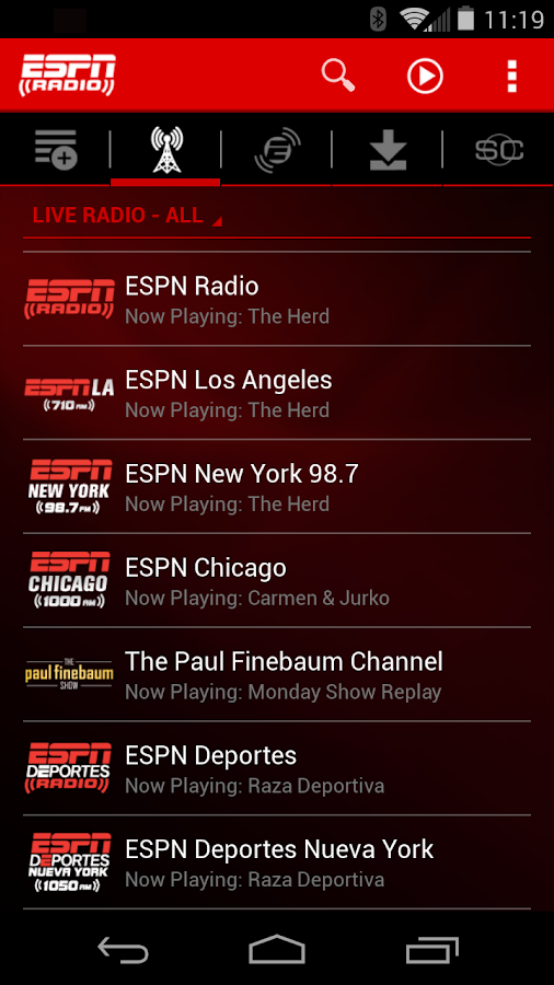 ESPN Radio- screenshot