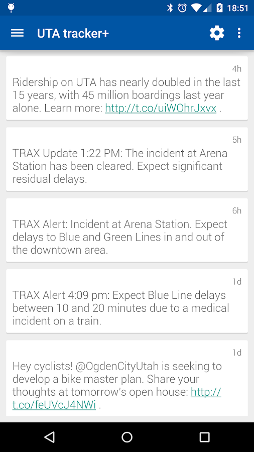 UTA tracker+- screenshot