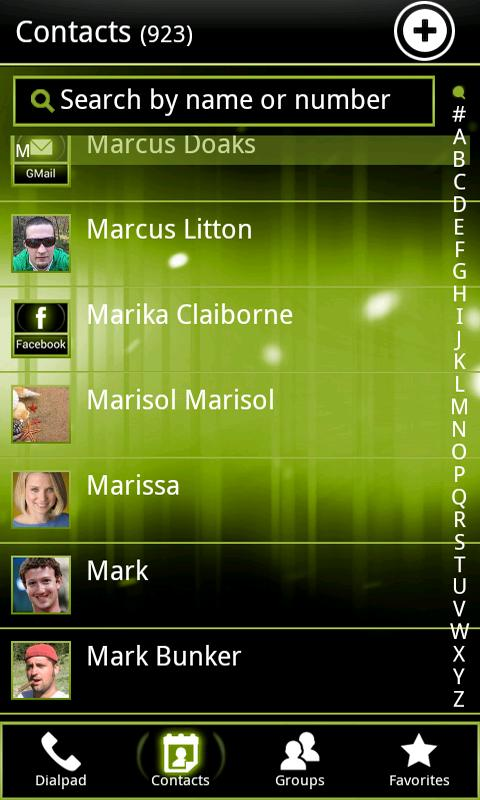 Green ICS GO Contacts EX - screenshot