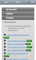 Screenshot of KES: 'The Homeopathy App'