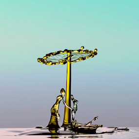 2 figures and 1 umbrella by Robert  Fly - Abstract Water Drops & Splashes (  )