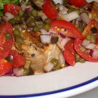 Grilled Tuna with Cherry Tomato Salsa.