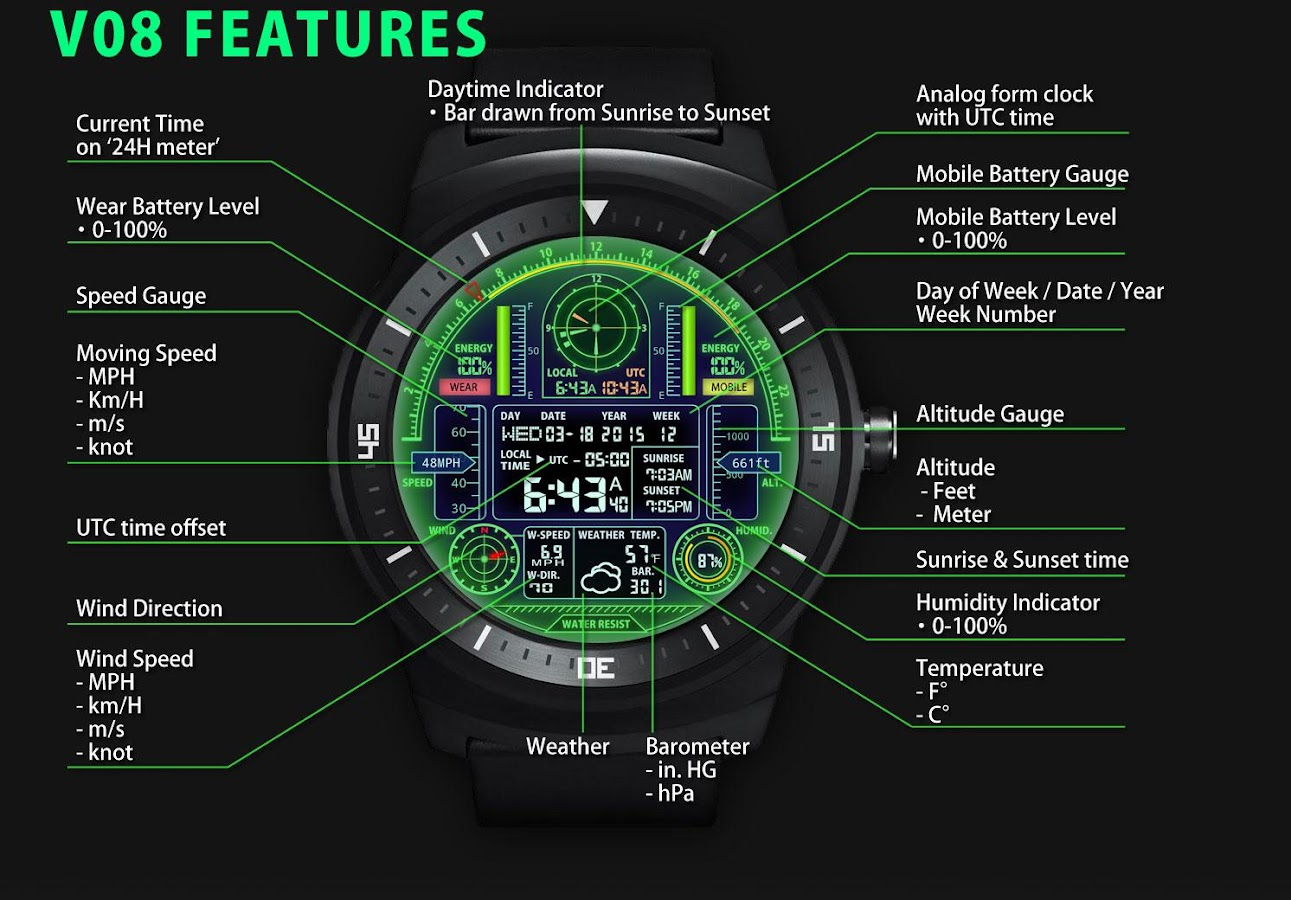 Facer android wear - V08 Watchface For Android Wear Screenshot