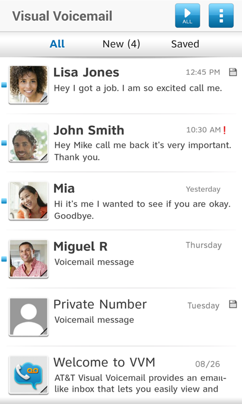 AT&T Visual Voicemail - screenshot