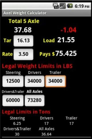 Axle Weight Calculator - screenshot