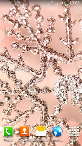 閃閃發光的粉紅色雪花