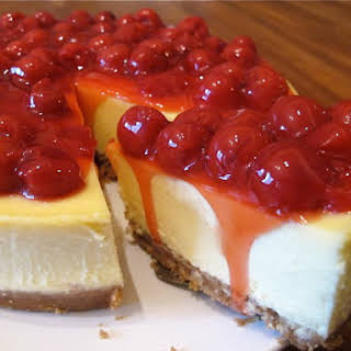 White Chocolate Cheesecake with Cherry Topping.