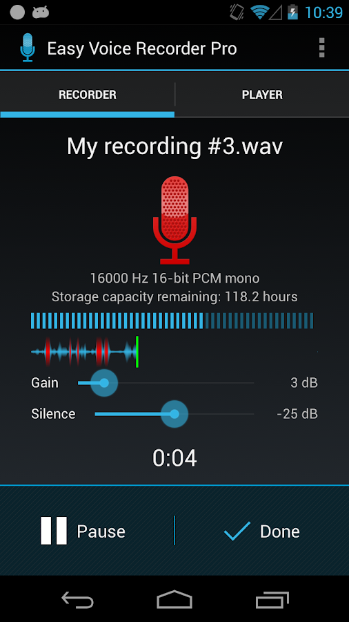 Fácil Voice Recorder Pro - Screenshot