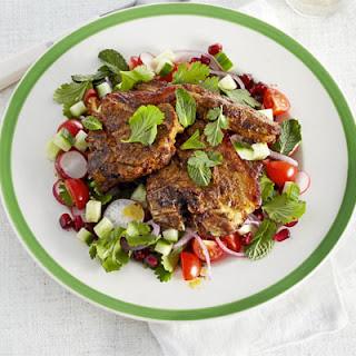 Sizzled Masala Lamb With Chopped Salad.