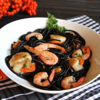 Squid Ink Pasta With Shrimp and Scallops.