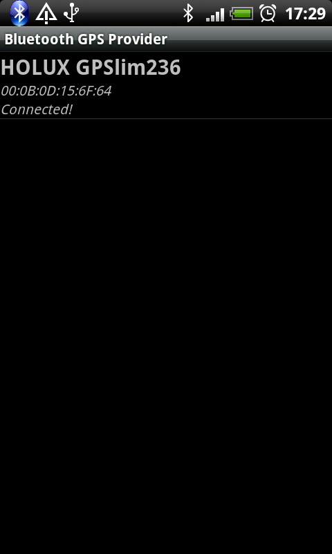 Bluetooth GPS Provider- screenshot