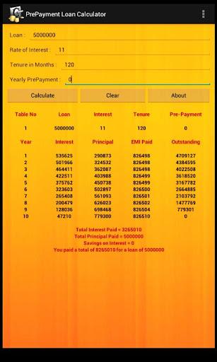 Prepayment Loan Calculator