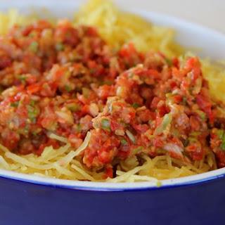 Simple Summer Raw Tomato Sauce (Over Spaghetti Squash).