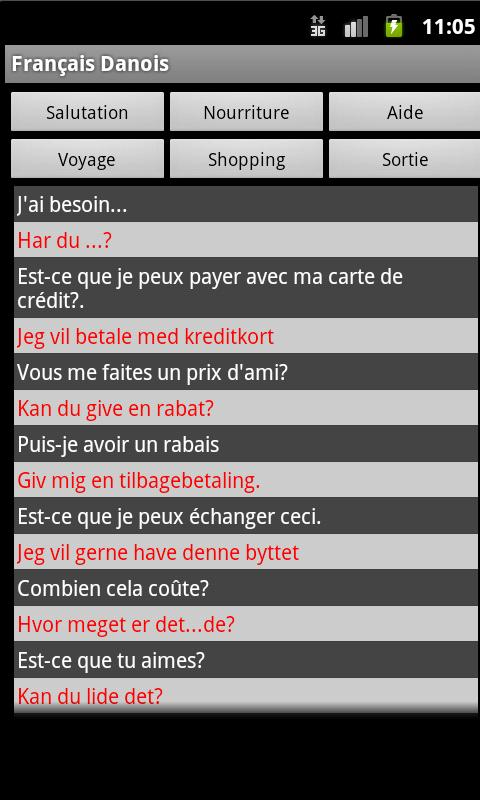 French Danish Dictionary - screenshot
