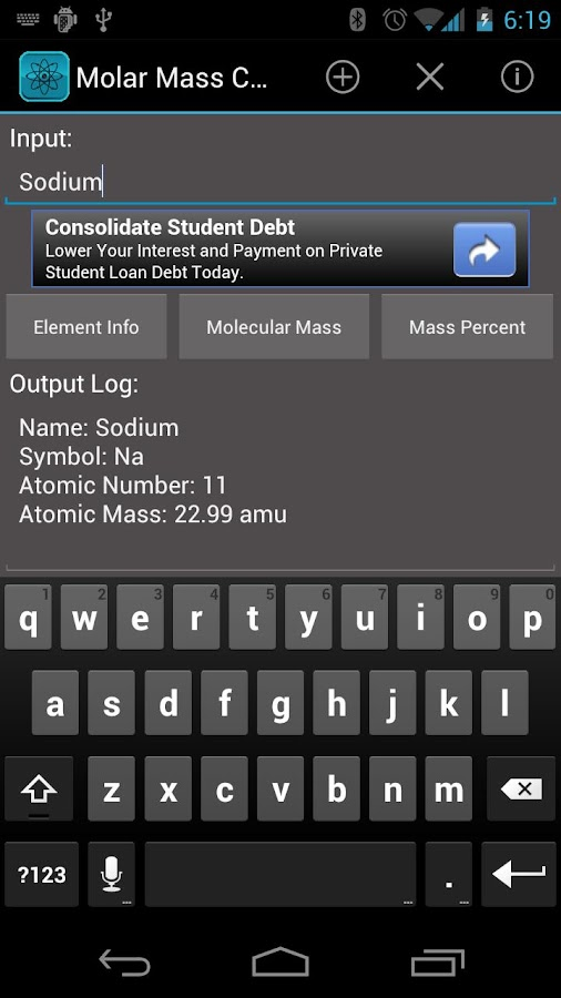 Molar Mass Calculator - screenshot