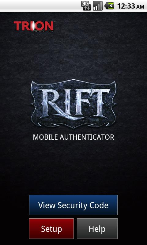 Authentificateur Mobile RIFT – Capture d'écran