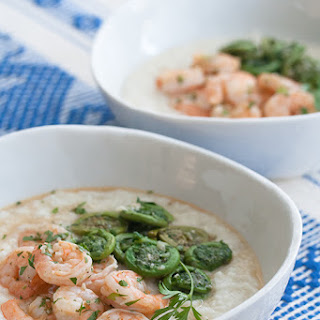 Lemon-Garlic Shrimp and Grits with Fiddleheads.