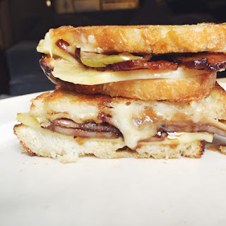 Rosemary Candied Bacon Grilled Cheese with Balsamic Apples