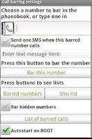 Screenshot of Barring Phone Numbers