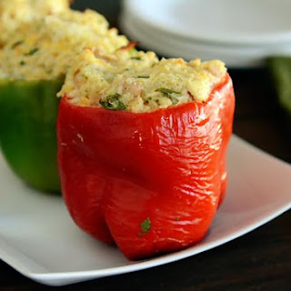Cheesy Chicken Enchilada Stuffed Peppers.