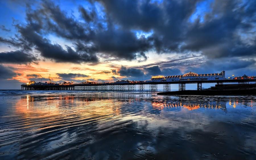 Brighton Pier by Mark Bond - Landscapes Sunsets & Sunrises ( water, sand, reflection, brighton, cloud, pier, beach,  )