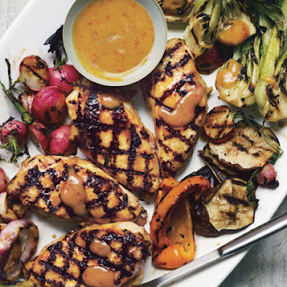 Grilled Asian Chicken with Bok Choy, Shiitake Mushrooms, and Radishes Recipe