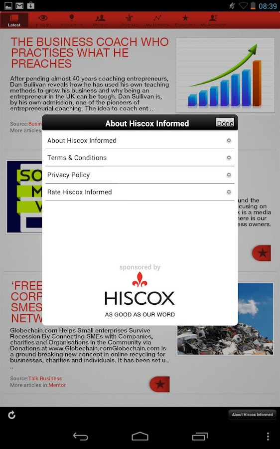 Hiscox Informed - screenshot
