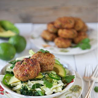 Thai-Style Baked Turkey Patties with Cabbage Slaw