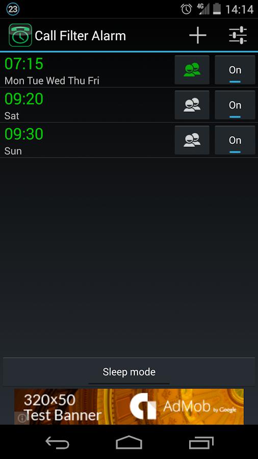 Call Filter Alarm - screenshot