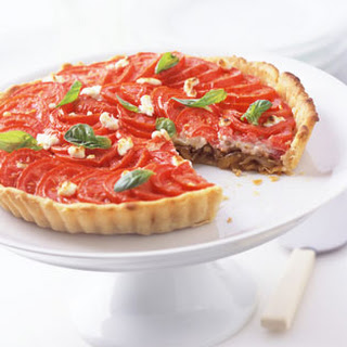 Tomato, Goat Cheese, and Onion Tart.