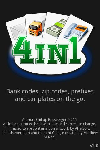 4in1 - Prefix, Zip, Car, Bank - screenshot