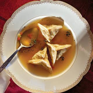 Kreplach Soup (Chicken Dumplings in Broth).
