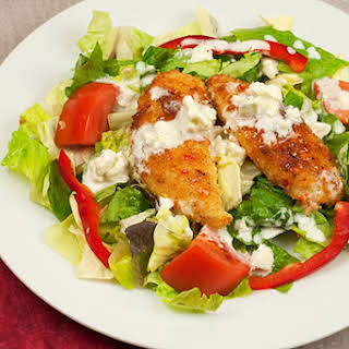 Sweet Chili Chicken Salad with Blue Cheese Ranch Dressing.